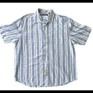 Cubavera Mens Short Sleeve Blue Plaid Button Shirt